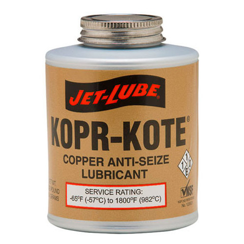 High temperature, copper anti-seize, fortifed with graphite and molybdenum disulfide Jet-Lube KopR-Kote Anti-Seize Compound.