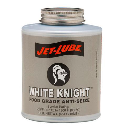 Food grade, nonstaining, odourless, tasteless anti-seize Jet-Lube White Knight.