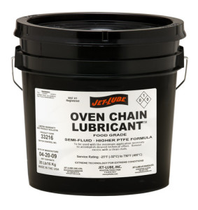 Synthetic, high temperature, low smoke, Jet-Lube Oven Chain Lubricant.